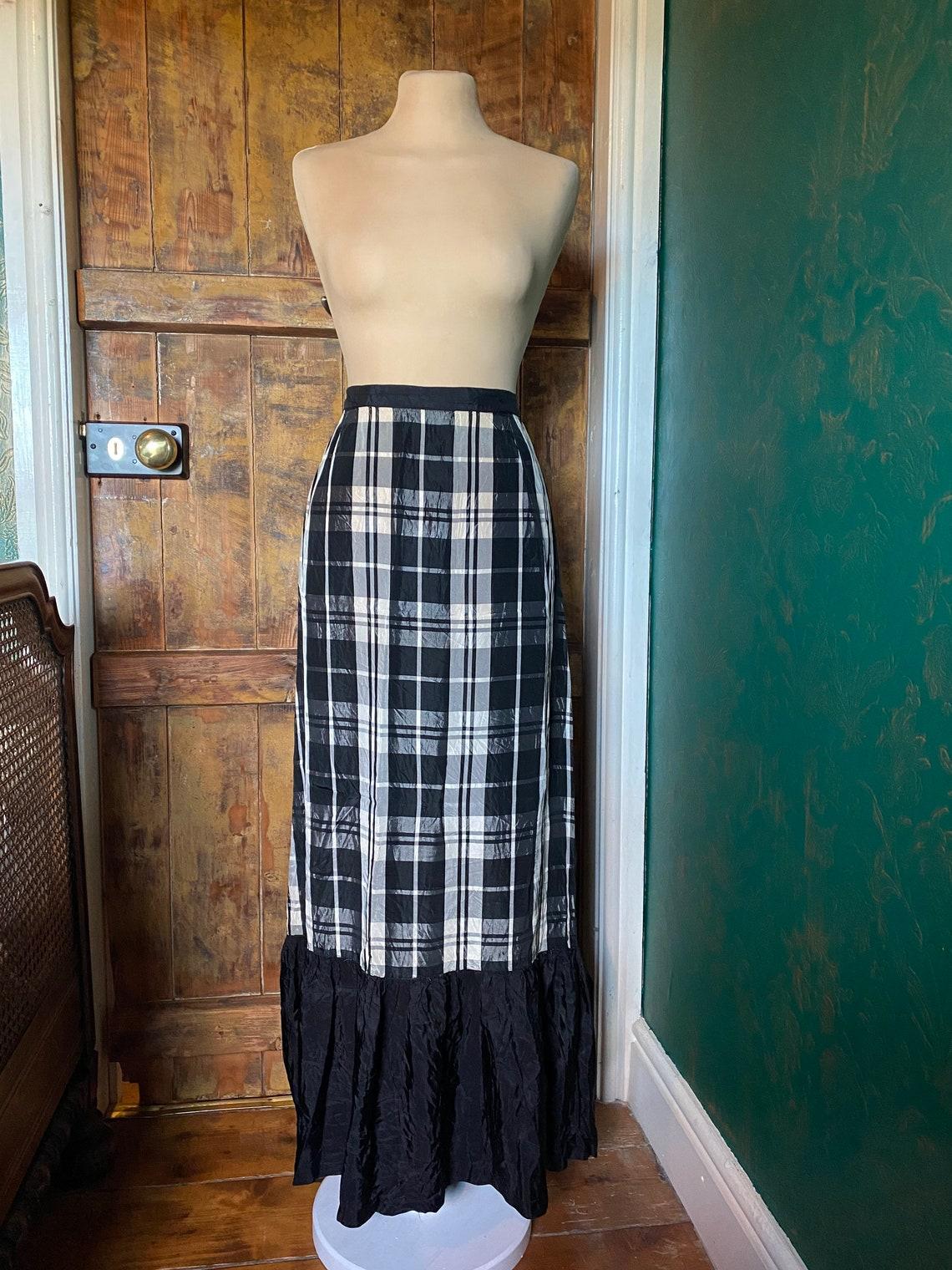 Vintage 1960s Floor Length Gingham Skirt etsy