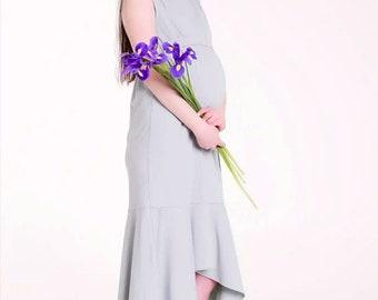 396a4bf02d9c1d Zomer borstvoeding maxi jurk avond grijs lange wrap jurk bruiloft  moederschap jurk verpleging jurk zwangerschap voorjaar jurk voorzien  moederschap