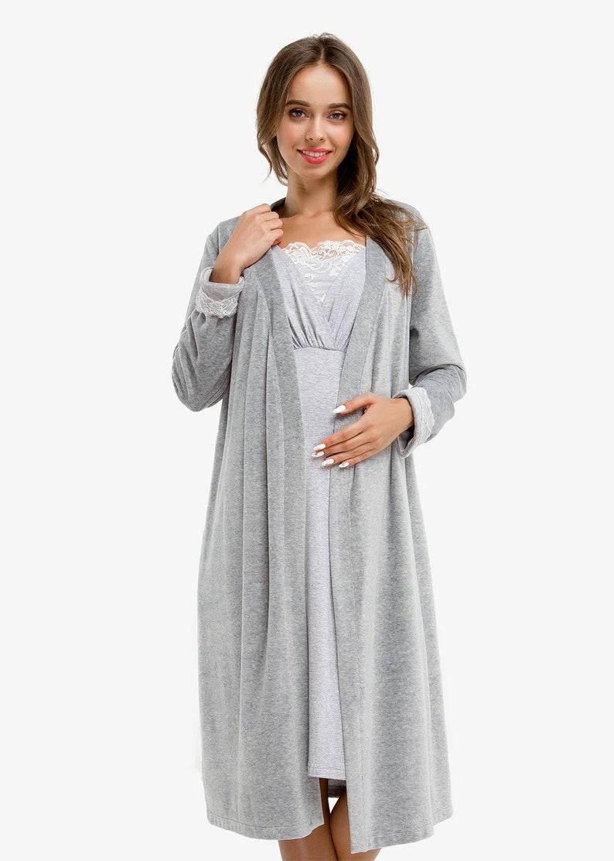 5278532ad9d Gray warm hospital robe for nursing SET Pregnancy gown Nursing | Etsy
