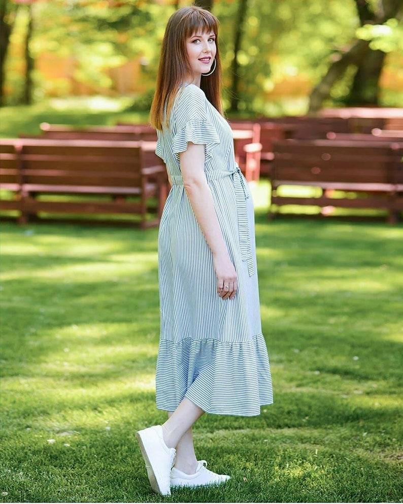 b59bf717b50 Summer striped breastfeeding maxi dress Long maternity dress   Etsy