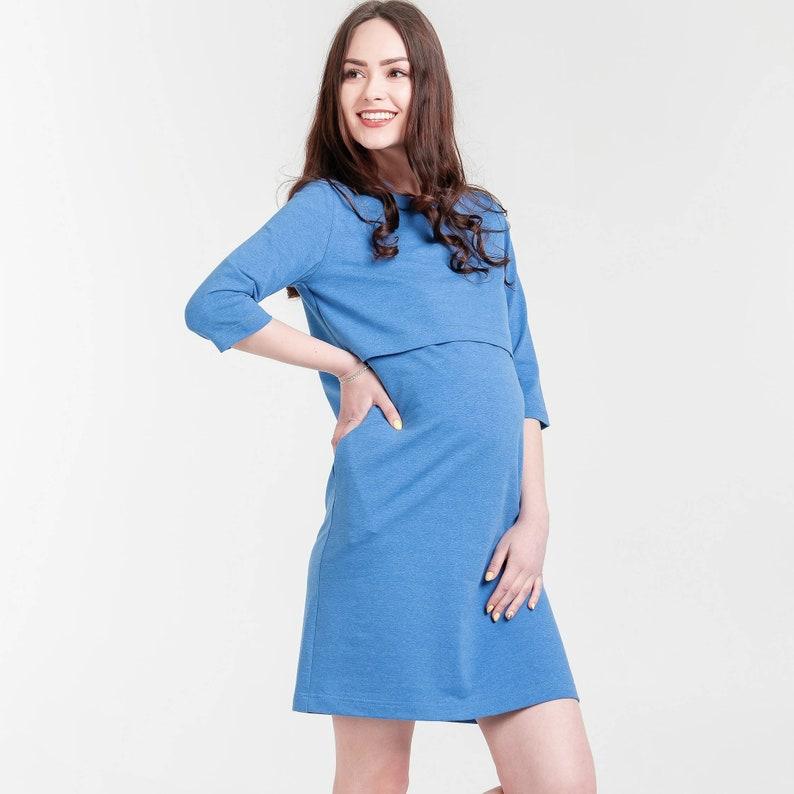 8bfb2cdd9b88b Maternity blue spring dress Nursing breastfeeding blue dress   Etsy