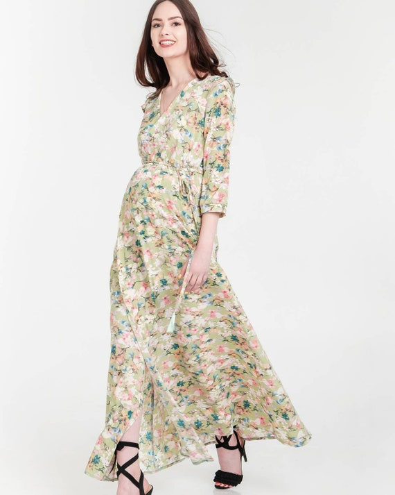 Women Maternity Pregnancy Short Sleeveless Nursing Breastfeeding Maxi Wrap Dress