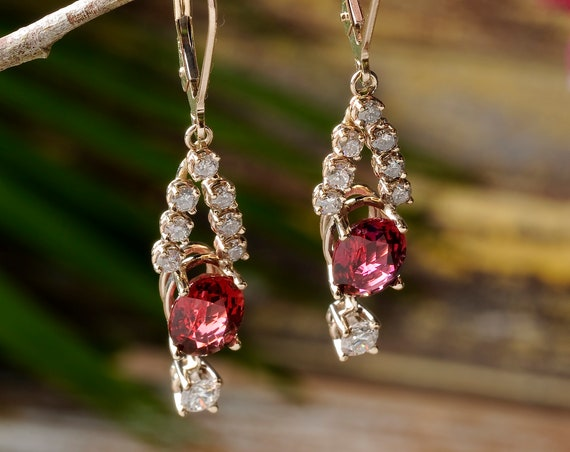 Red Gemstone and Diamond Dangle Earrings