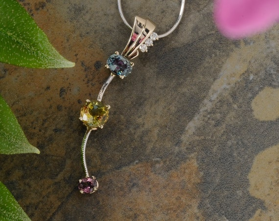 Long Colorful Multi Gemstone and Diamond Pendant