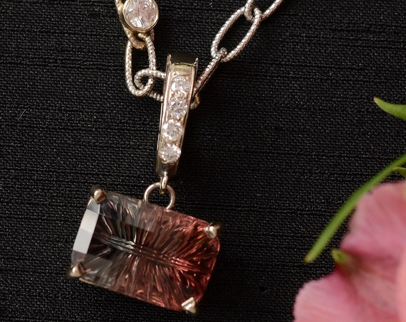 One of a Kind Bi Color Tourmaline and Diamond Pendant