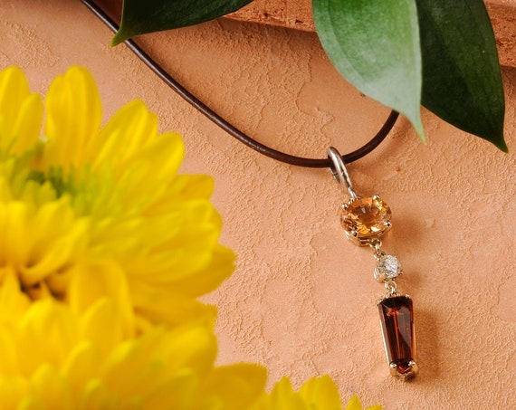 Imperial Topaz and Diamond Statement Pendant