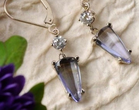 Violet Tanzanite and Diamond Dangle Earrings