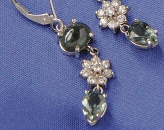 Green Sapphire and Diamond Dangle Earrings
