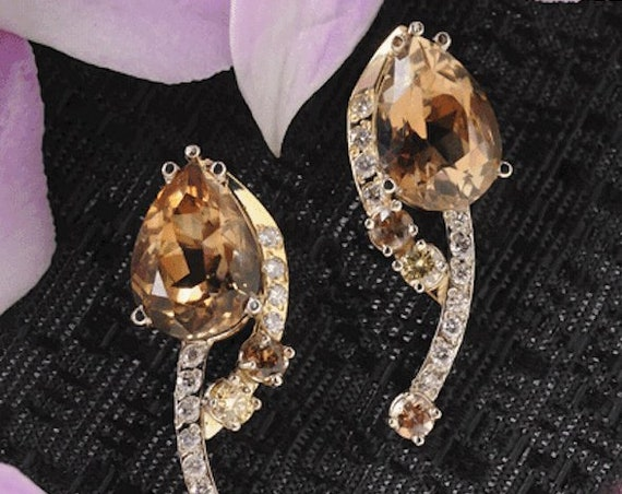 Earrings, Jewelry, Topaz, Diamonds, Andalusite, 14k White Gold, Hand Carved , One of a Kind