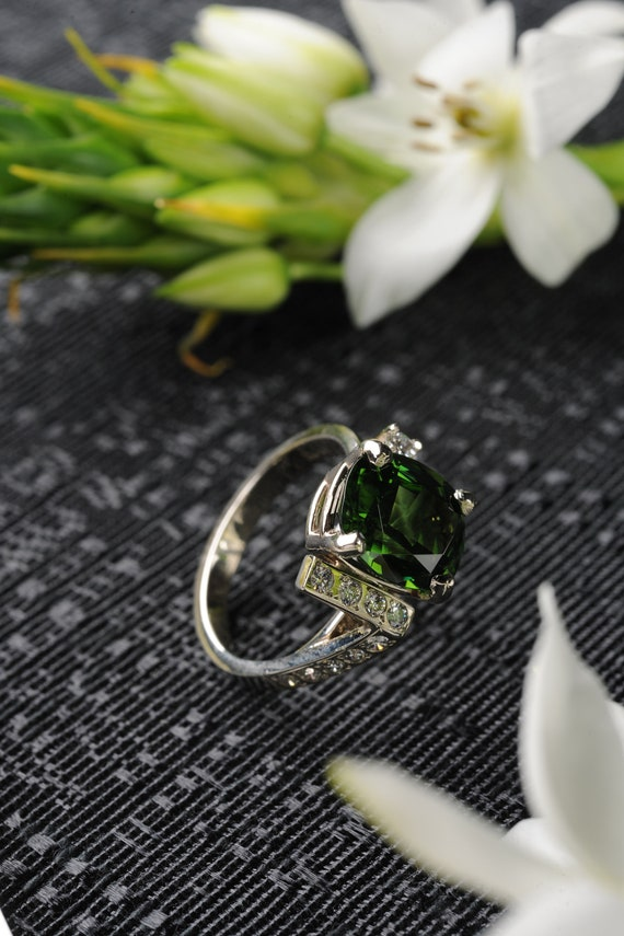 Green Gemstone and Diamond Jewelry Ring, Handmade Gemstone and Diamond Ring, Natural Gemstone and Diamond Ring