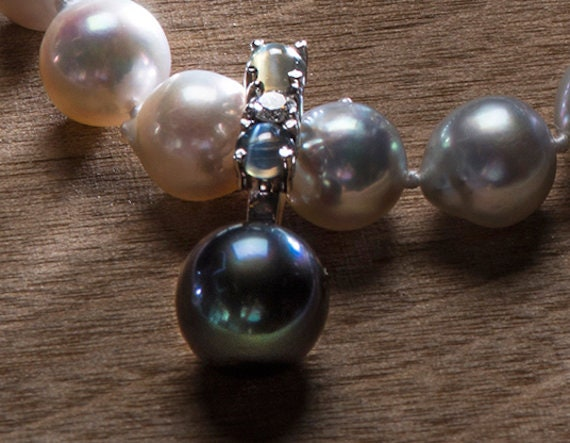 Exotic Greenish Black Tahitian Pearl,Cat's Eye Alexandrite and Diamond Pendant Enhancer