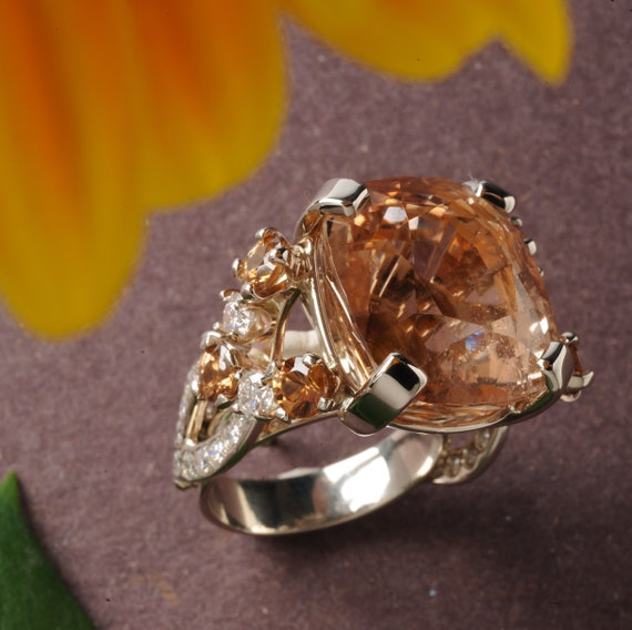 Handmade Jewelry Art Deco Ring, Natural Topaz, Zircon and Diamond 14k white gold ring