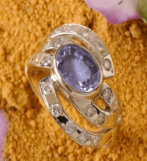 Violet Sapphire and Diamond Jewelry Ring, Handmade Fine Jewelry, Gemstone Jewelry