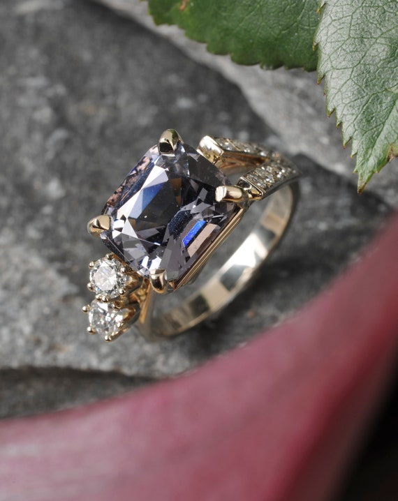 Ring, Jewelry, Blue Spinel, Diamonds, Hand Carved, 14k White Gold, One of a Kind