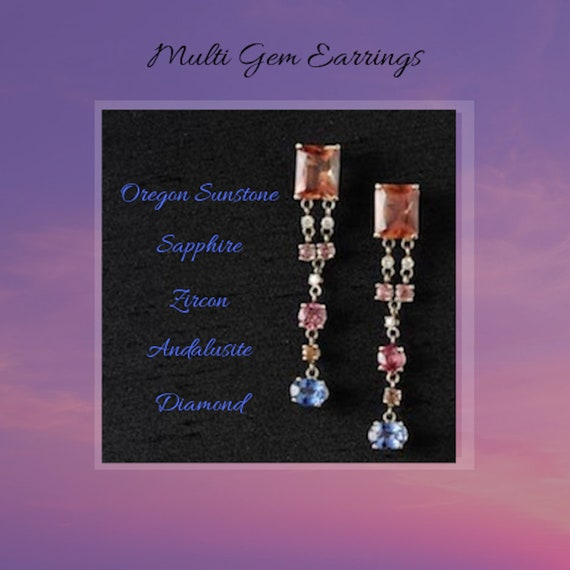 Handmade Multi Gemstone Jewelry Dangle Earrings