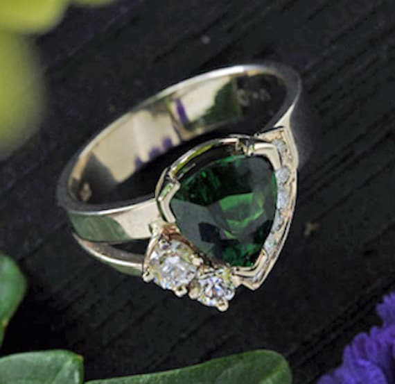 Ring, Jewelry, Garnet, Tsavorite Garnet, Diamonds, Hand Carved