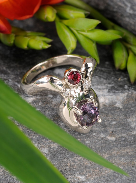 Unique Boho Gemstone and Diamond ring