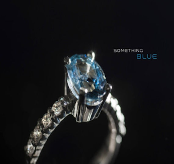 Feminine Turquoise Blue Sapphire Ring with Diamonds One of a Kind in  14k white gold