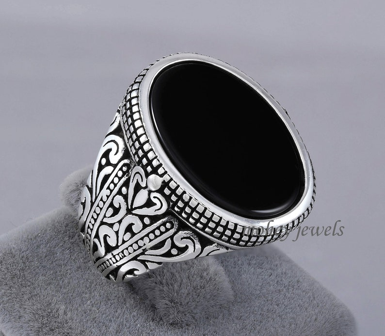 Sale Men/'s Ring Wide Band Ring Gemstone Ring Sterling Silver Ring Unique Ring Birthstone Ring Black Onyx Ring Wedding Gift For Him