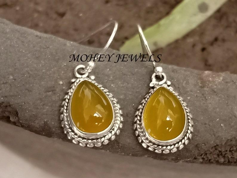 Dangle Earring Unique Earring For Women/'s For Gift Yellow Chalcedony Earring 925 Sterling Silver Earring Gemstone Earring Drop Earring
