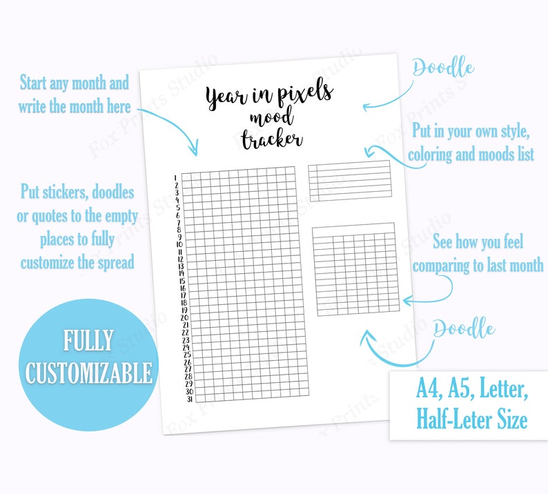 photograph about Year in Pixels Printable known as 12 months within Pixels Temper Tracker Printable, Bullet Magazine printable, Tracker printable,planner refill A4,A5 planner inserts, Per year Temper tracker