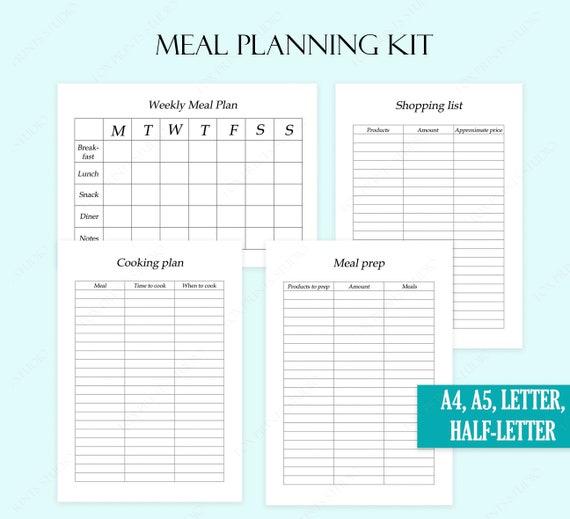 Meal Planner Printable Meal Prep Planner Meal Prep Template Cooking Planner Bullet Journal Kit Printable Meal Plan Template Meal Planner