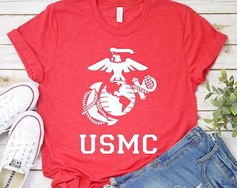 efcf7399 USMC T-Shirt - Marine Shirt - Military Shirt - Marine Life - USMC - Semper  Fi - Military - Marine Logo - Gift For Marine
