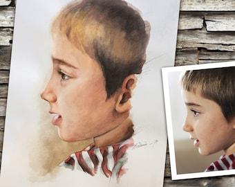 Personalized photo portrait, color watercolor, hand-drawn child portrait to order