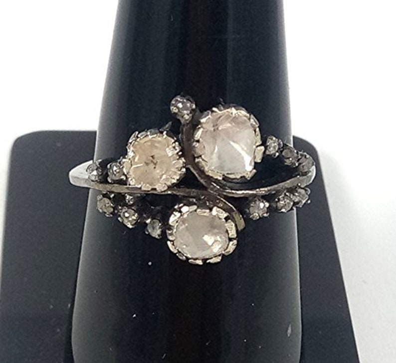 925 Sterling Silver Ring Beautiful Rose Cut Polki Diamond Ring Simple Ring