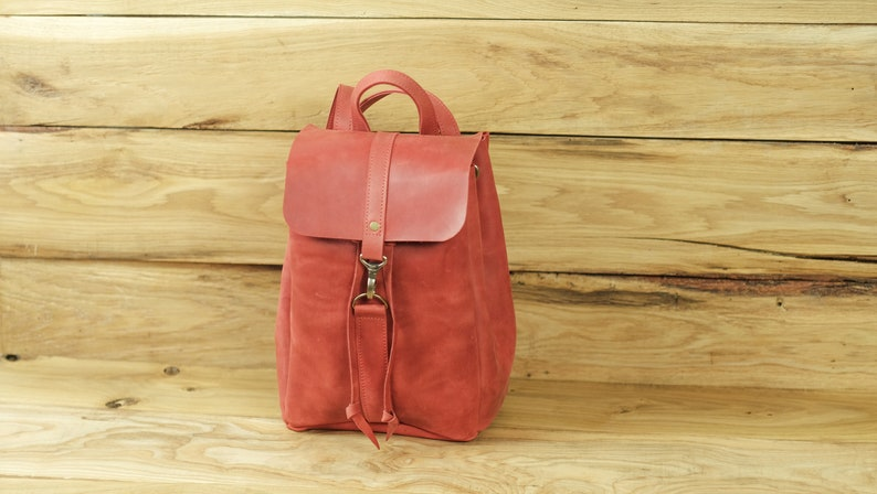 64eb5819c45d Women backpack Leather backpack Small and Big backpack Red