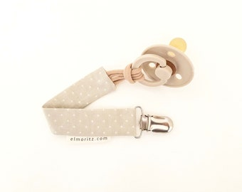 dummy pacifier clip baby girl plain peony silver teddy bear clip
