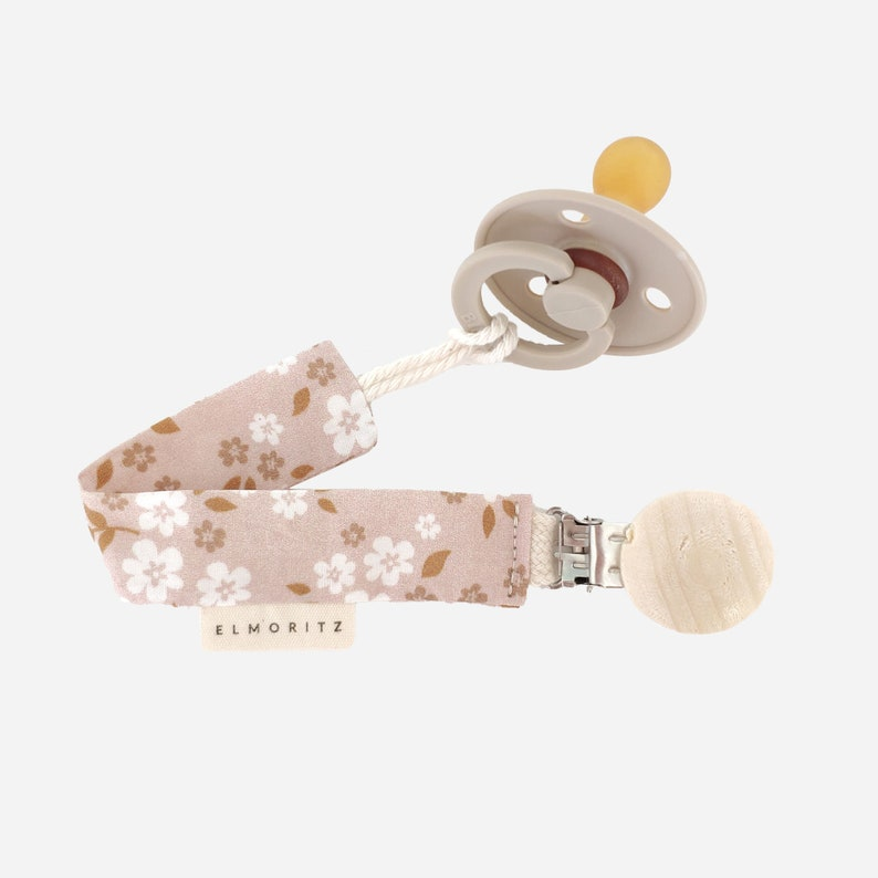 Whimsy floral peach cotton pacifier clip  Whimsy floral peach cotton dummy clip