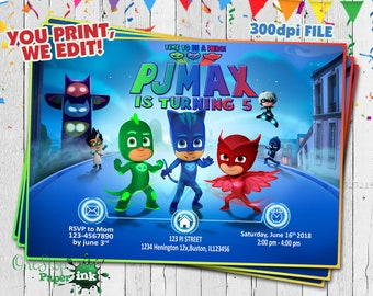 Pj Masks Invitation Birthday Party Printable PJ Mask Personalized