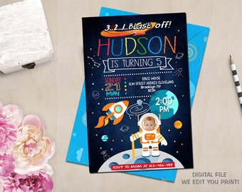 Space Invitation Birthday Outer Rocket Ship Printables Personalized Digital Astronaut Invitations