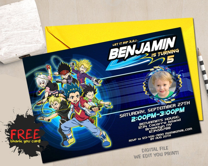 Beyblade Personalized Birthday Invitations More Designs Inside!