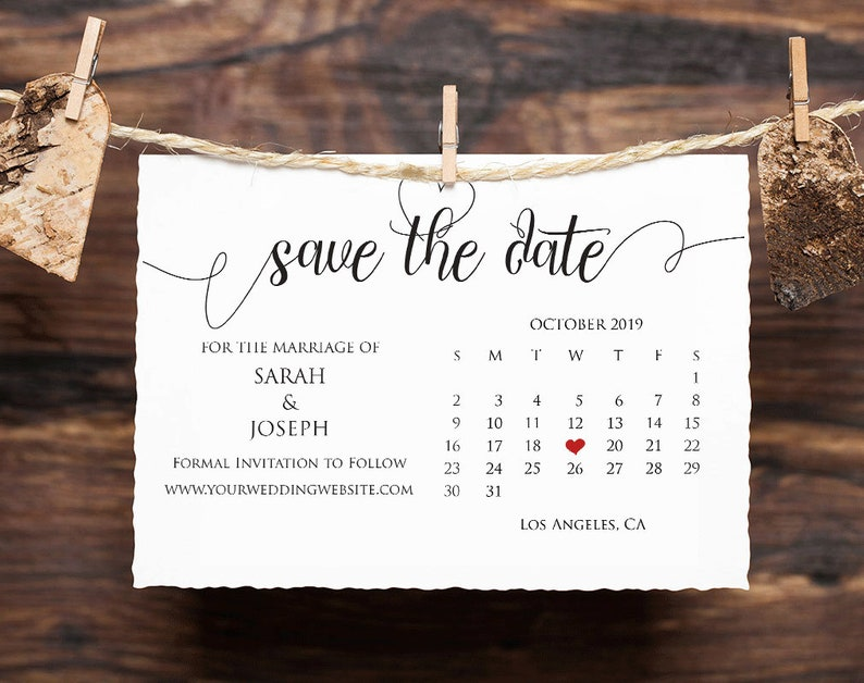 #SPS/_37 Save the Date Calendar Printable Save the Date Wedding template Instant download self editable Save the date card