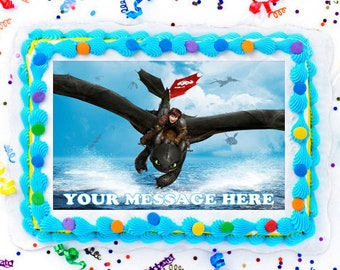 How to train your dragon cake etsy how to train your dragon party edible cake image cake topper frosting sheet ccuart Choice Image