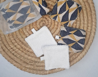 Pack 7 reusable face remover discs, makeup remover pads, cotton and bamboo fabric wipes, zero residue.