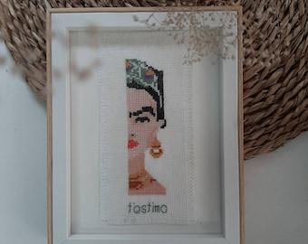 Frida Kahlo embroidered frame on cross stitch