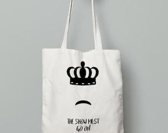 Freddie Mercury tote bag. Organic fabric bag with print print with minimalist illustration. Freddie Mercury Illustration Backpack