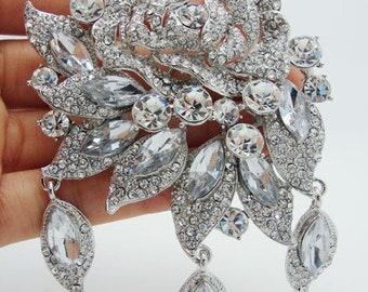 Crystal Beaded Brooch 3-D Silver Pinless Brooch Silver Rhinestone- Belt Brooches Pinless Brooch Dress Silver Brooch