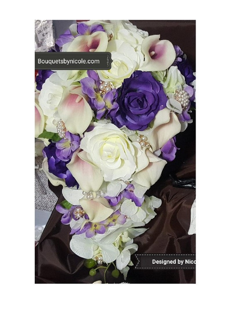 Wedding Silk Roses Real Touch Calla Lilies Brooch Bouquet Cascade Waterfall