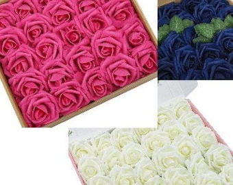 20 Stk. Echte Touch Rosen l Schaumstoff PE l Stoff Blumen Wholesale l Brosche Bouquets l Baby Stirnbänder l Haarschmuck l 30+ Farben