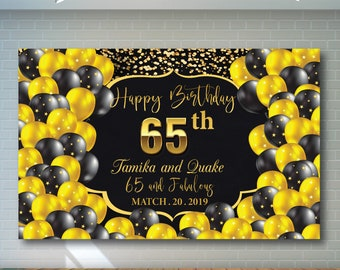 65th Birthday Backdrop Black And Gold Printable Personalized Adult Party Banner 02