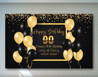 90th Birthday Backdrop Black And Gold Printable Personalized Adult Party Banner
