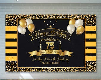 75th Birthday Backdrop Black And Gold Printable Personalized Adult Party Banner 02