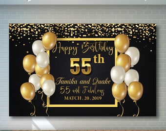 55th Birthday Backdrop Black And Gold Printable Personalized Adult Party Banner 02