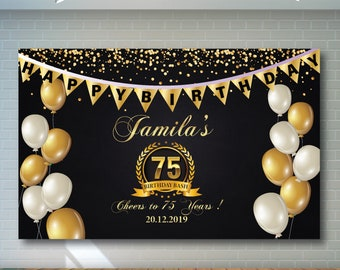 75th Birthday Backdrop Black And Gold Printable Personalized Adult Party Banner 01