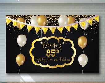 85th Birthday Backdrop Black And Gold Printable Personalized Adult Party Banner 02
