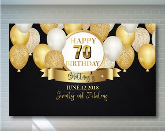 70th Birthday Backdrop Black And Gold Printable Personalized Adult Party Banner